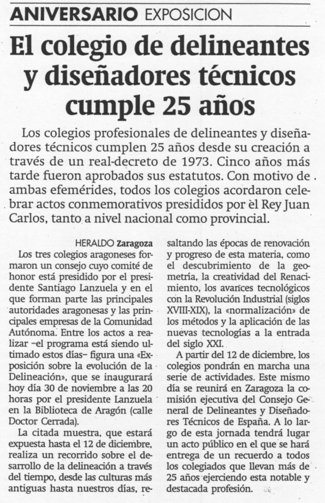 Colegio Delineantes 25 años-heraldo-30-11-1998