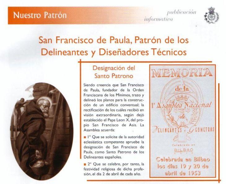Proclamacion de San Francisco de Paula Patron de los Delineantes
